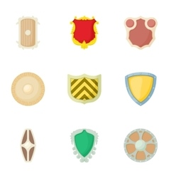 Army shield icons set cartoon style vector image