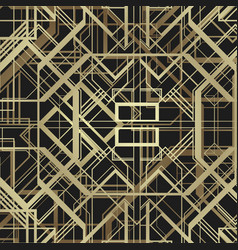 Art deco style geometric frame border design gold vector