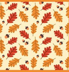 autumn seamless pattern background yellow oak vector image