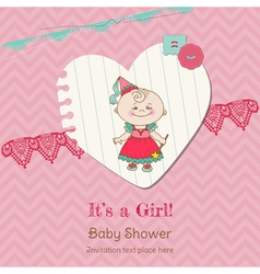 Baby Girl Shower and Arrival Card vector image