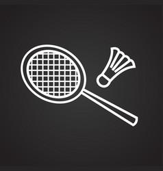 badminton thin line on black background vector image