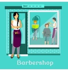 Barbershop Facade with Customers vector image