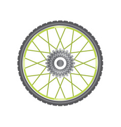 Black metallic bicycle wheel with green spokes vector