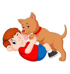 Boy playing with dog and dog licking his owner vector