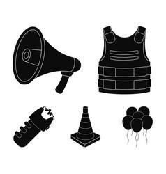 Bulletproof vest megaphone cone of fencing vector