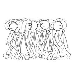 Cartoon crowd or group people walking on vector