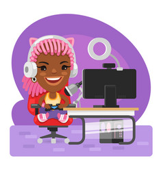 Cartoon gamer girl streamer vector