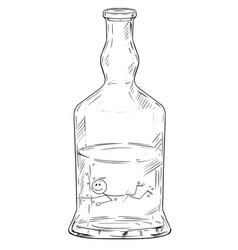 Cartoon man swimming in hard liquor or spirits vector