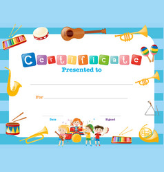 Certification template with musical instruments vector