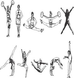Cheerleader and Gymnastics Black and White vector