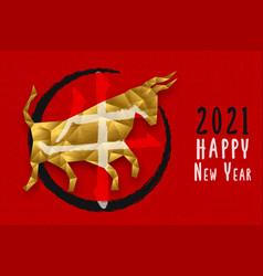 chinese new year ox gold low poly bull animal card vector image