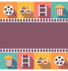 Cinema icons set Flat style signs vector image