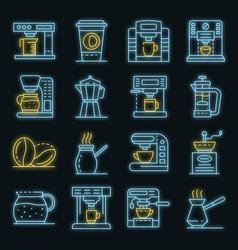 coffee maker icons set neon vector image