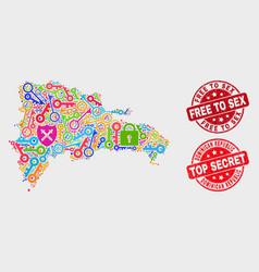 Composition safeguard dominican republic map vector