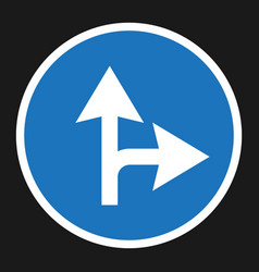 Compulsory ahead or right sign flat icon vector