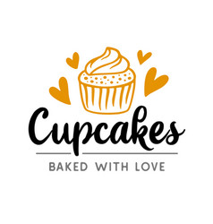 cupcakes logotype badge label vector image