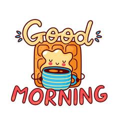 Cute happy waffle drink coffee vector