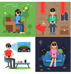 Different concept pictures of funny people in vector