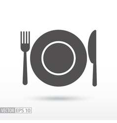 Dish fork and knife - flat icon vector image