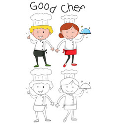 Doodle chef character on white background vector