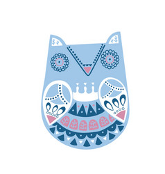 doodle style ornamental hand drawn winter owl vector image