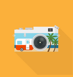 double exposure travel concept flat design vector image