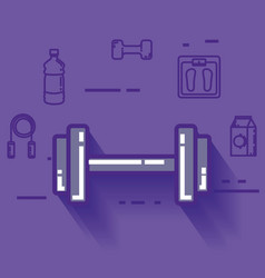 Dumbell with healthy lifestyle icons vector