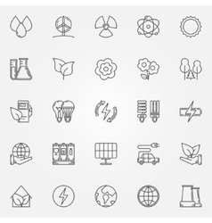 Ecology linear icons vector