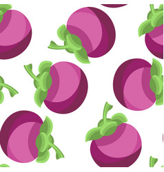 exotic tropical fruit mangosteen seamless pattern vector image