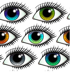eyes colorful seamless pattern vector image
