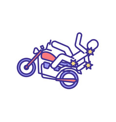 Falling off motorcycle injuries rgb color icon vector