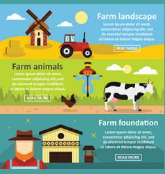 Farm landscape banner horizontal set flat style vector