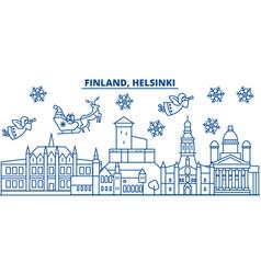 Finland helsinki winter city skyline merry vector