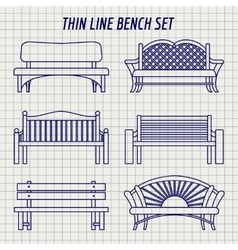 Garden bench set on notebook background vector image