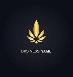 Gold leaf cannabis logo vector