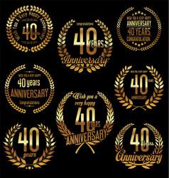 Golden laurel wreath anniversary collection 40 vector