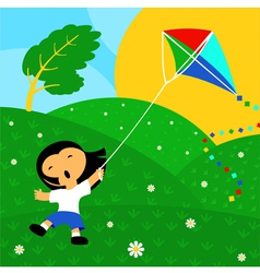 Good day and kite vector image