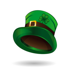 Green leprechaun hat with clover leaf vector