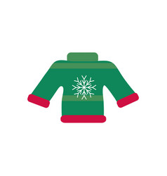 Green ugly sweater snowflake decoration happy vector