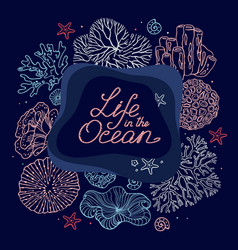 hand-drawn set of life items in the ocean and text vector image