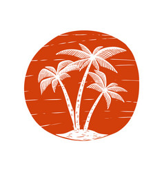 Hand drawn with palms and sun design element for vector