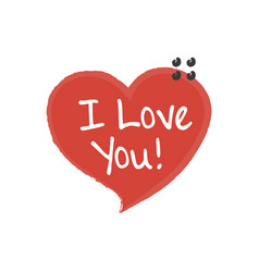 hand written i love you phrase card with sign i vector image