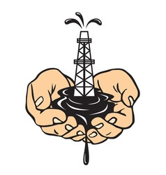 Hands holding an oil rig Oil production vector