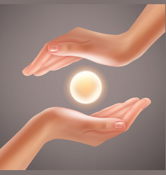 Hands holding sphere vector