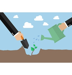 Hands planting a new tree vector