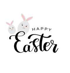 happy easter lettering card with cute rabbit vector image