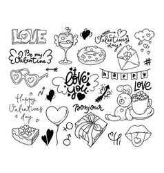 happy valentine s day dooddle art collection of vector image