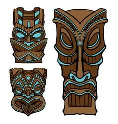 hawaiian tiki god statue carved wood vector image