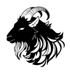 head a black hairy goat in profile vector image