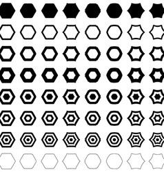 Hexagon polygon set vector image